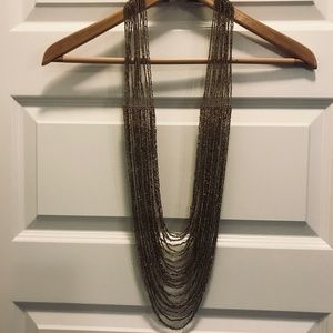 Arden B: GOLD long beaded necklace